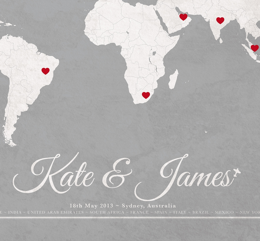 Custom vintage wedding world map quick view gumiabroncs Choice Image