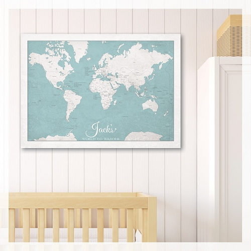 KIDS WORLD MAP - Light Blue