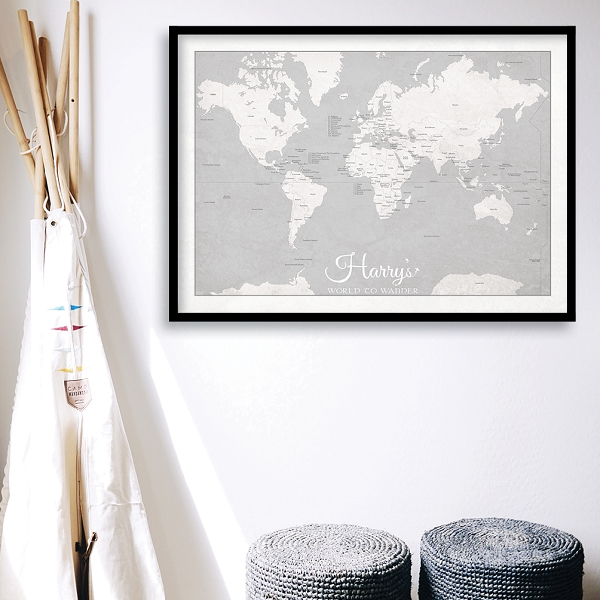 KIDS WORLD MAP - Grey