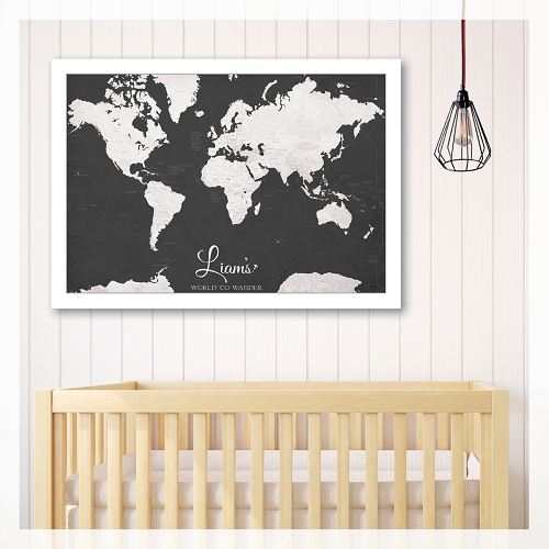 KIDS WORLD MAP - Black