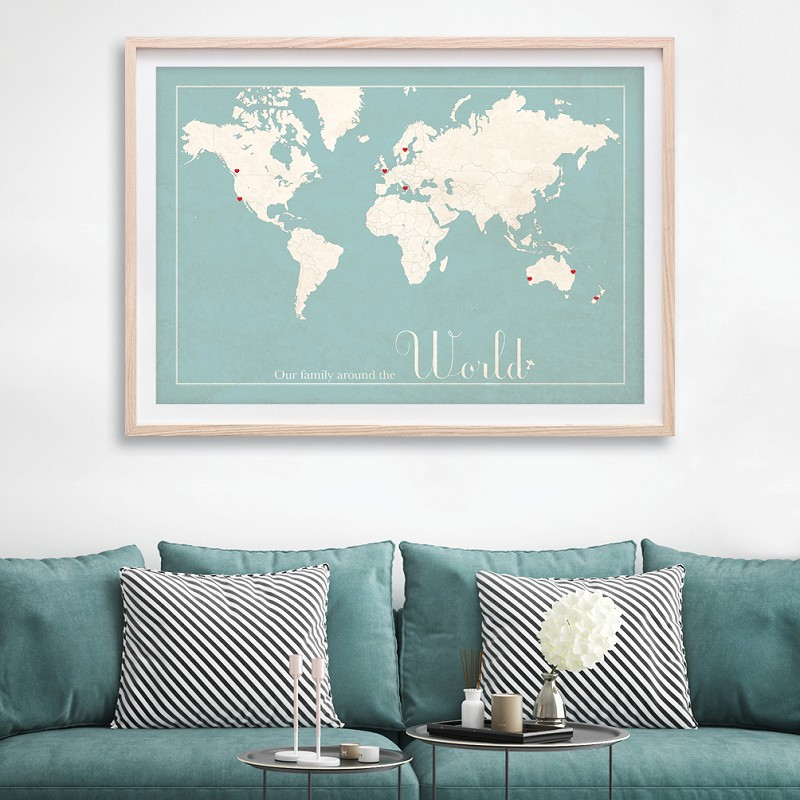 World map - light blue