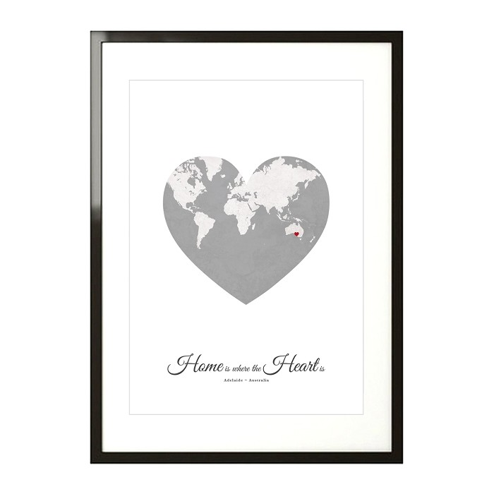 HOME HEART MAP - mottled grey