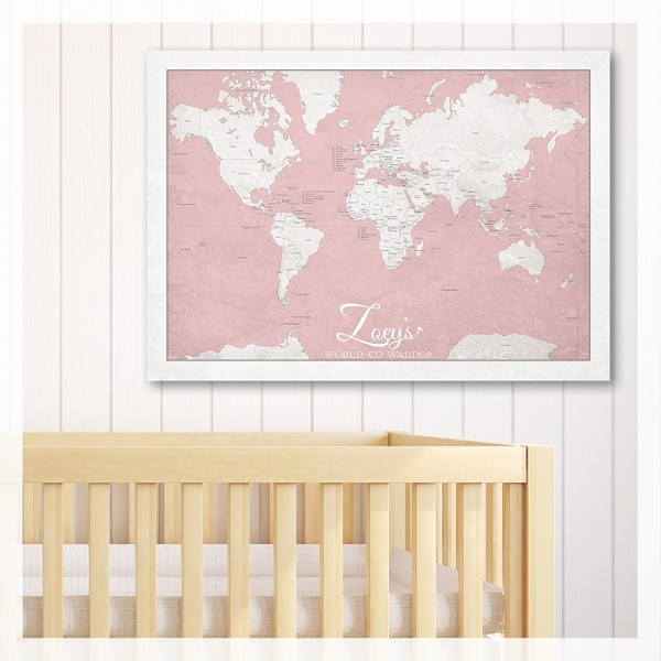 KIDS WORLD MAP - Pink